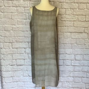 Eileen Fisher Green/gray Silk tank dress s…